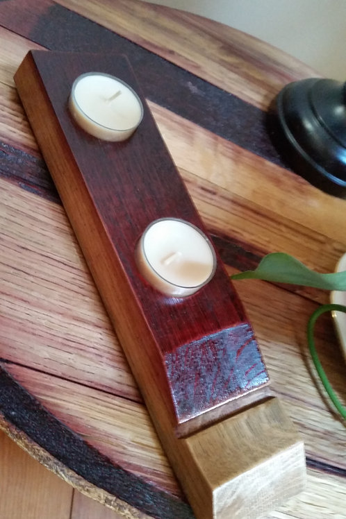 Wine stave 2 Tea Light Candle Holder / Shot Glass Holder