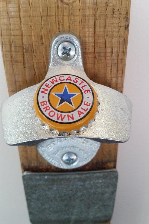 New Castle Brown Ale Bottle Opener on Wine Barrel Stave