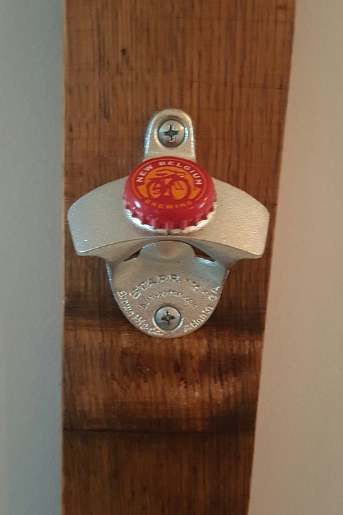 New Belgium Fat Tire Beer Bottle Opener on Wine Barrel Stave