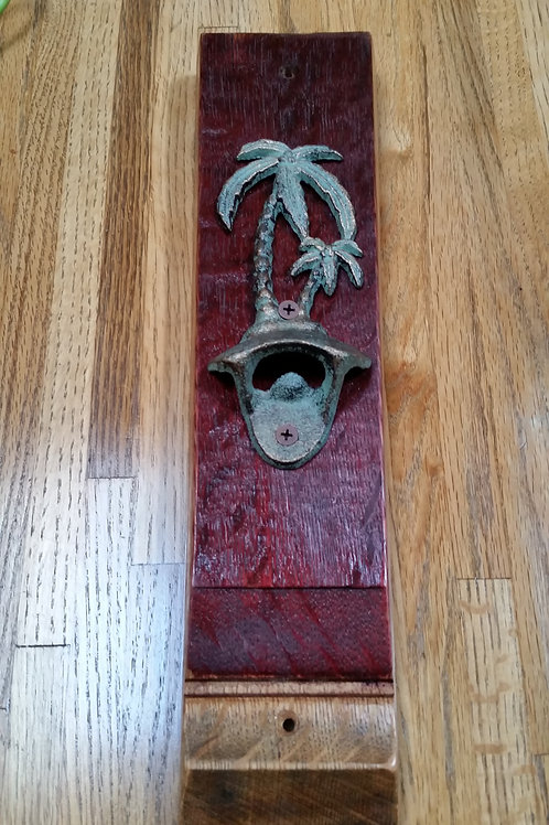 Palm Tree Bottle Opener On a Wine Stave