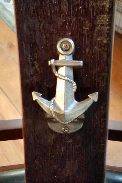 Navy Anchor (large) Bottle Opener on Wine Stave