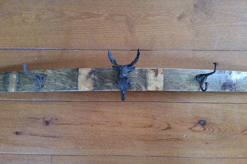 Moose head wine stave coat rack