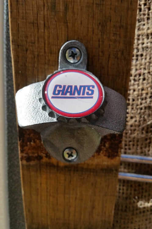 NY Giants Bottle Opener on Wine Barrel Stave