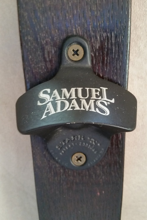 Samuel Adams Bottle Opener on Wine Barrel Stave