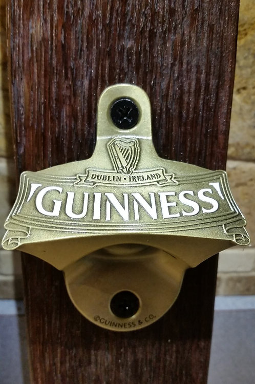 Gold Guinness Bottle Opener on Wine Barrel Stave