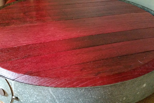 Wine Barrel Top Lazy Susan with Banding