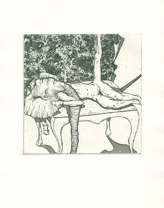 'Masked on the Table' | Etching