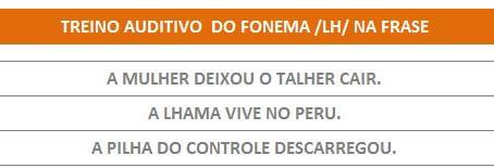 MANUAL DA PLANILHA DE FONOAUDIOLOGIA TREINO DO FONEMA LH