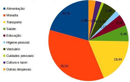 Distribuição de orçamento familiar no Brasil
