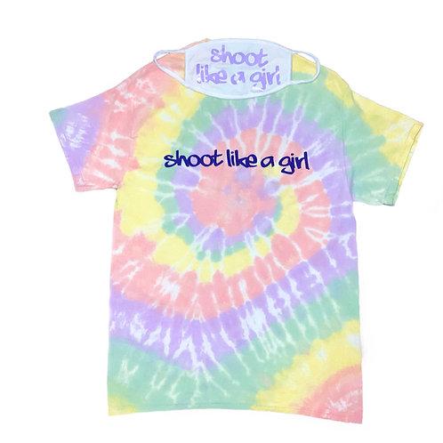 Shoot Like a Girl Rainbow Tie-Dye T-Shirts