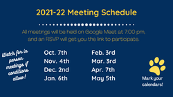 2021-22 PTA Meeting Dates