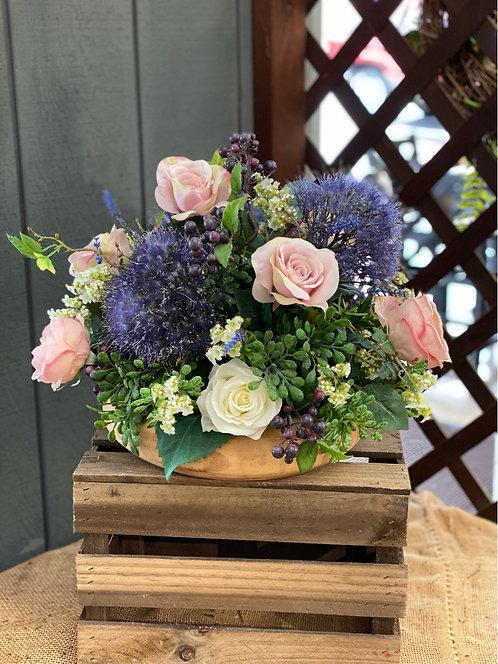 Pink & Purple Silk Arrangement in Wooden Bowl