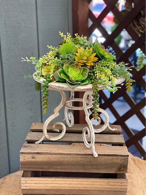 Artificial Succulent Arrangement in Decorative Metal Pedestal Bowl
