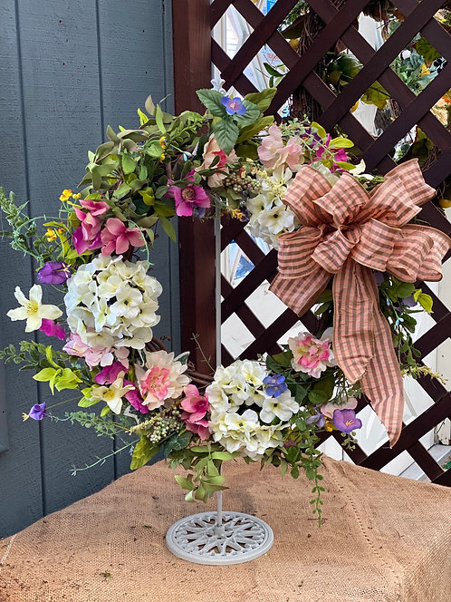 Sweet Spring Decorative Wreath with Handmade Bow Accent