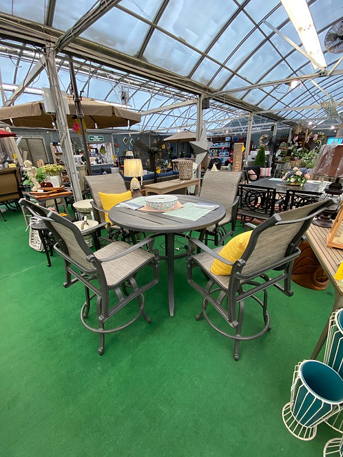 """44"""" Round Counter Height Table with 4 Swivel Chairs"""