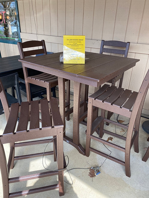 """37"""" Square Bar Height Table with 4 Armless Barstools"""