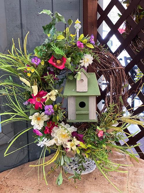 Little Birdhouse Decorative Wreath