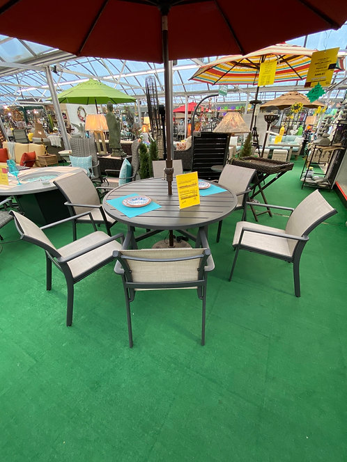 """53"""" Round Dining Table with 6 Dining Chairs"""