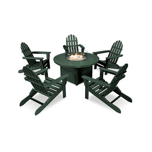 Classic Folding Adirondack 6-Piece Conversation Set with Fire Pit Table