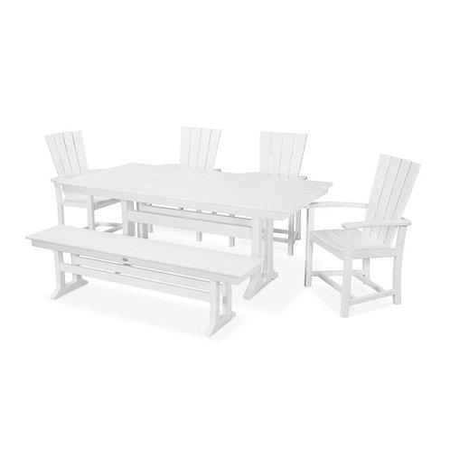 Quattro 6-Piece Farmhouse Dining Set with Bench