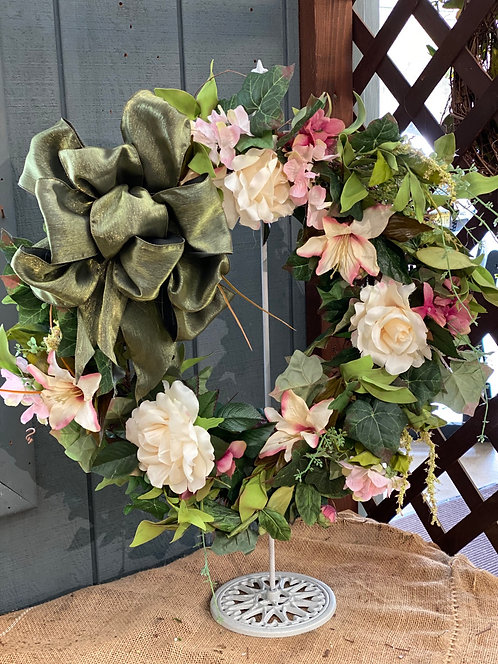 Soft Pink & Green Decorative Wreath