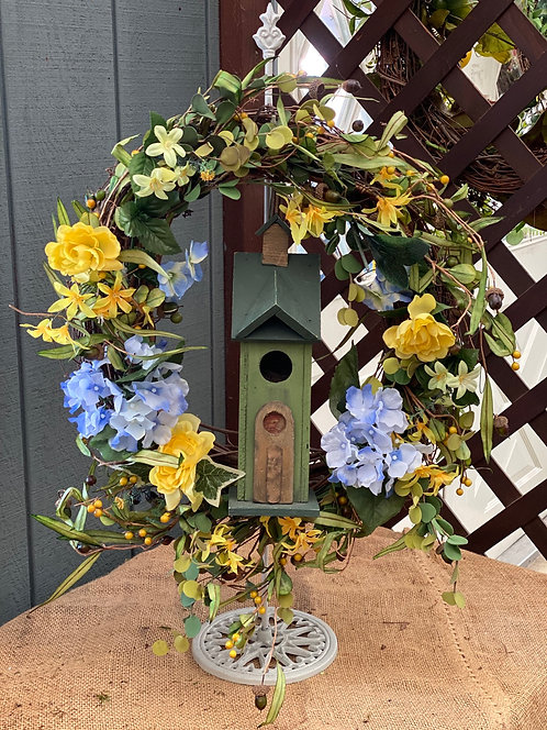Yellow & Blue Decorative Wreath with Wooden Birdhouse Center