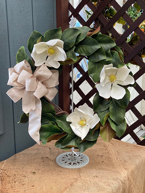 White Magnolia Decorative Wreath with Handmade Bow Accent