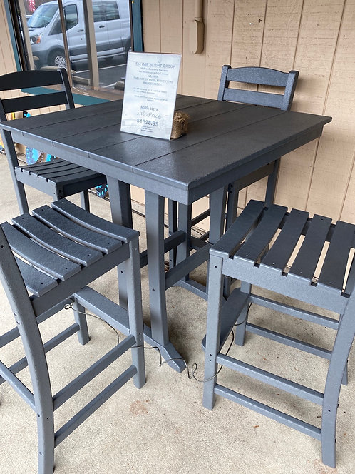 "37"" Square Bar Height Table with 4 Armless Barstools"