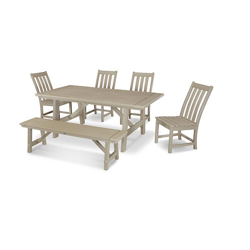 Vineyard 6-Piece Rustic Farmhouse Side Chair Dining Set with Bench in Vintage Fi