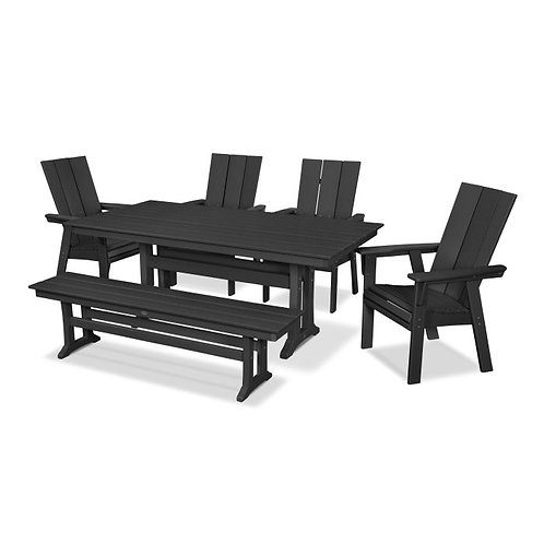 Modern Adirondack 6-Piece Farmhouse Dining Set with Bench