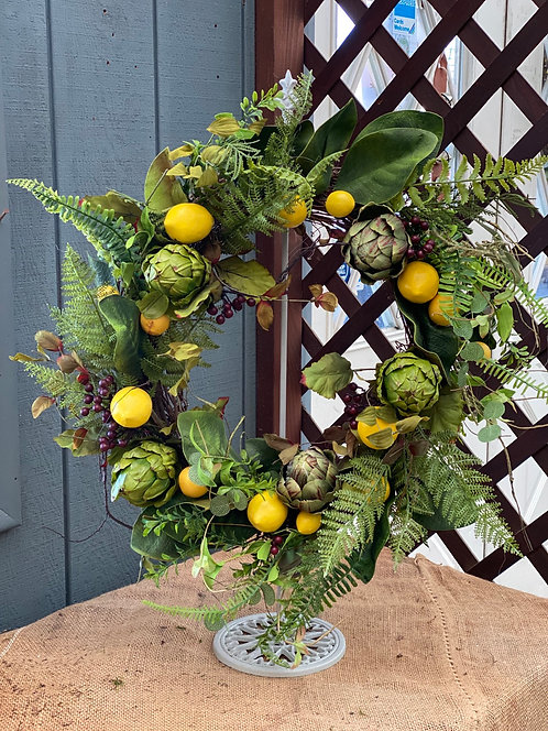 Lemons & Artichoke Decorative Wreath