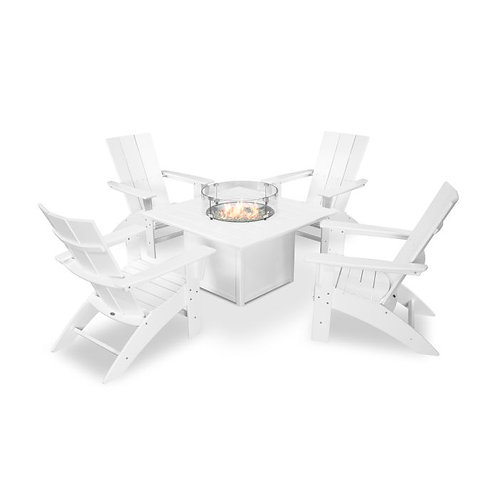 Modern Curveback Adirondack 5-Piece Conversation Set with Fire Pit Table