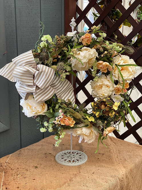 Neutral Spring Decorative Wreath with Handmade Bow Accent