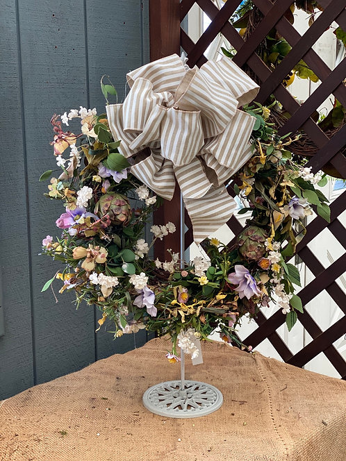 Soft Neutral Decorative Wreath with Handmade Bow Accent