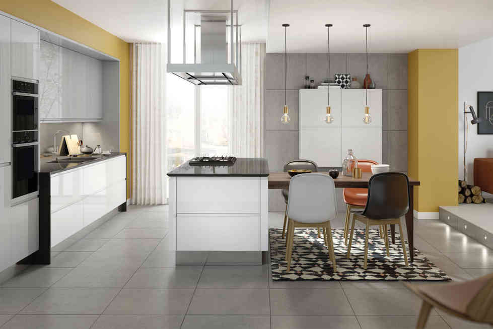 Remo kitchen White Gloss and Silver Grey Gloss