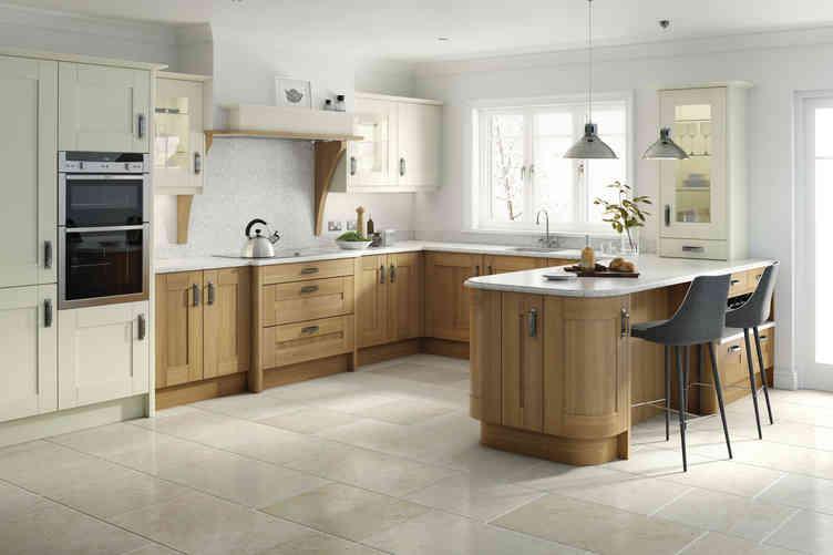 Broadoak kitchen Alabaster & Natural Oak