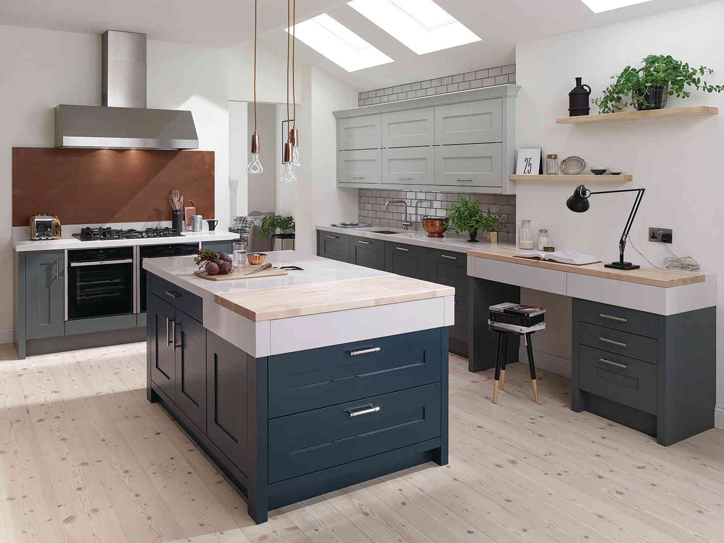Fitzroy kitchen Hartforth Blue and Partridge Grey Wall