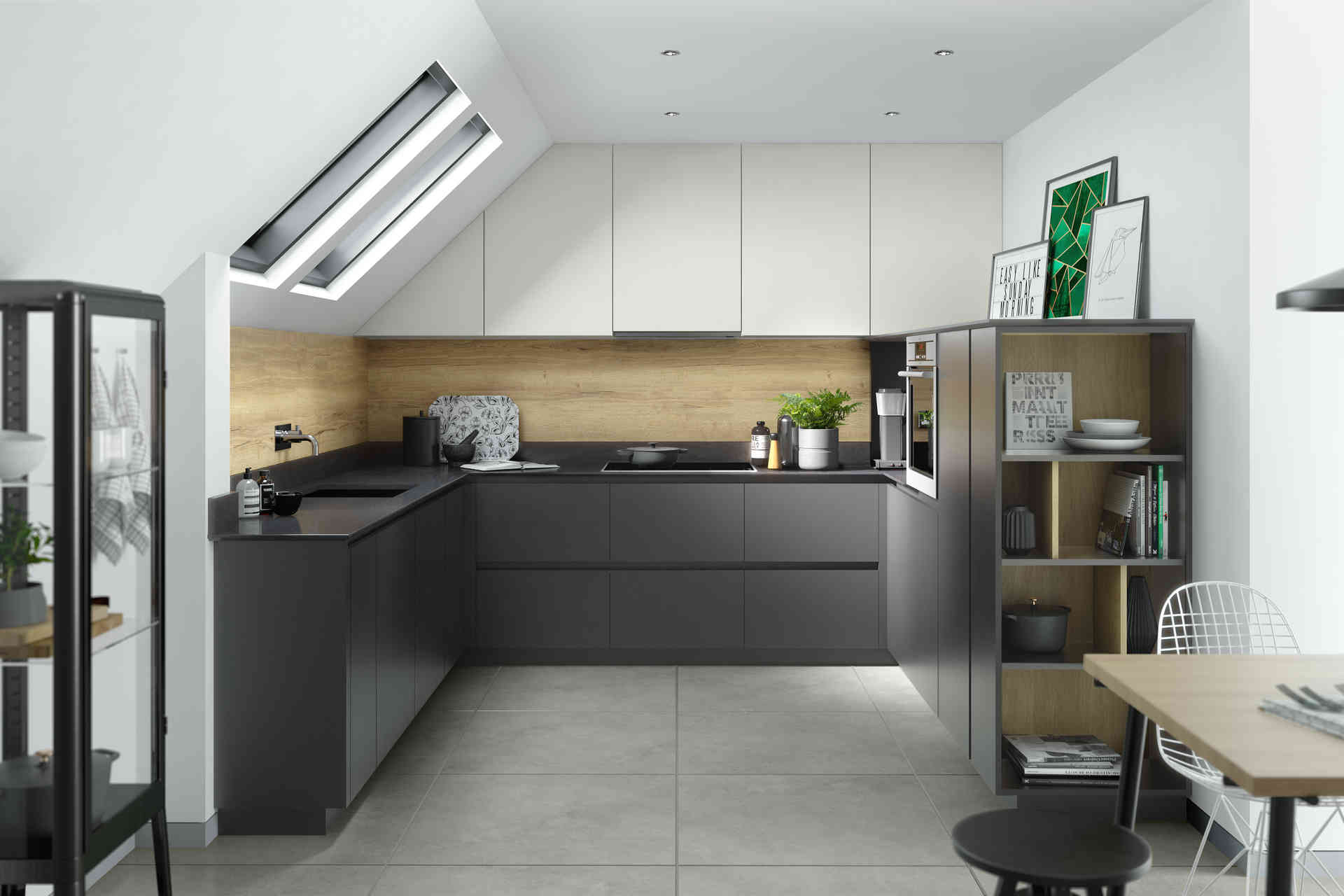 Unity kitchen Graphite Supermatt and Light Grey Supermatt