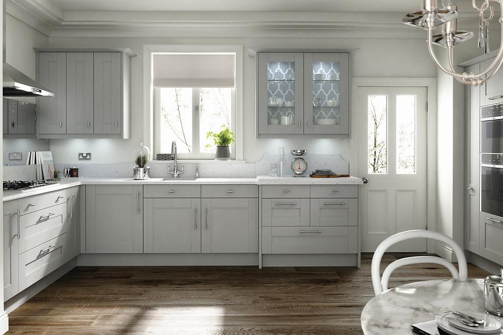 Grey Shaker Style Kitchen Background