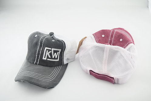KW distressed flop hat (velcro size)