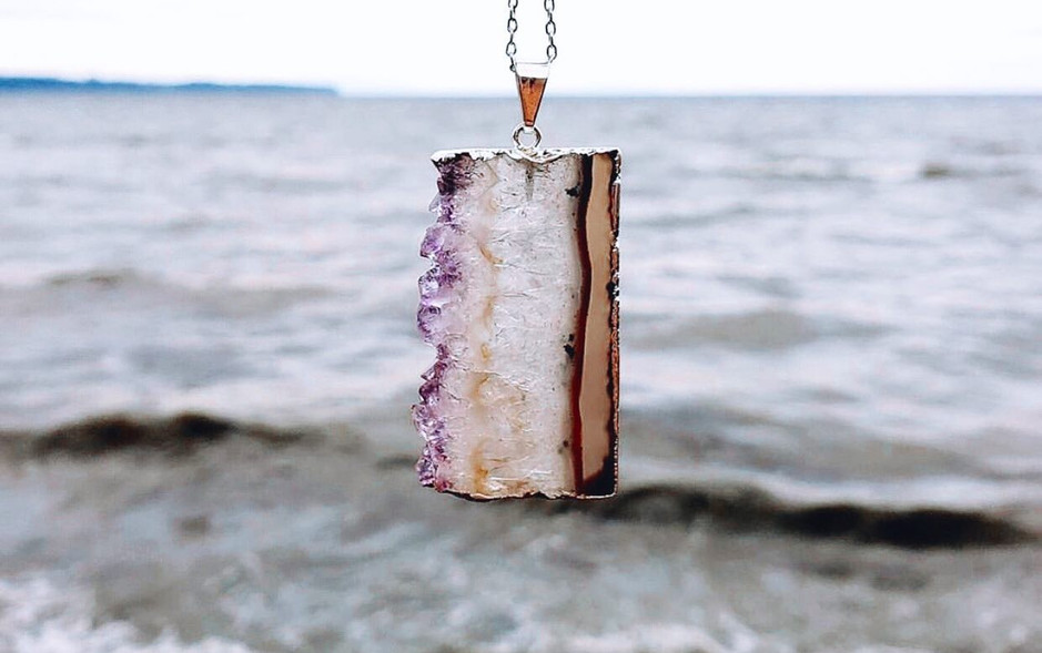 Amethyst Agate Slice Necklace