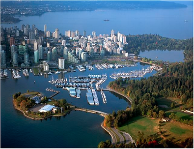 ariel view of coal harbour, Westin, and