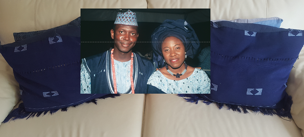 My living room adorned with my traditional wedding asooke...11years on.