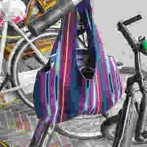 Portable Bag on the go! Made from handwoven Aso-Oke fabric