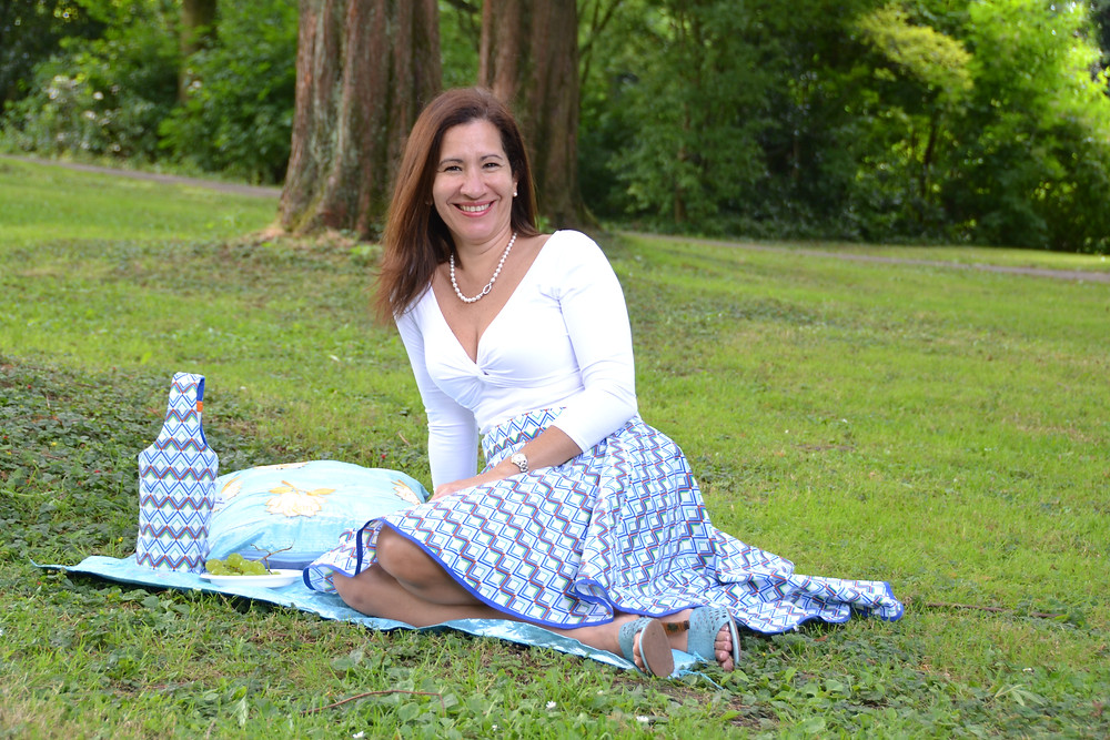 Picnic time made easy: The Kira Skirt with matching Wine bag, Recycled Aso-Oke head tie transformed into a picnic mat and matching cushion pillow