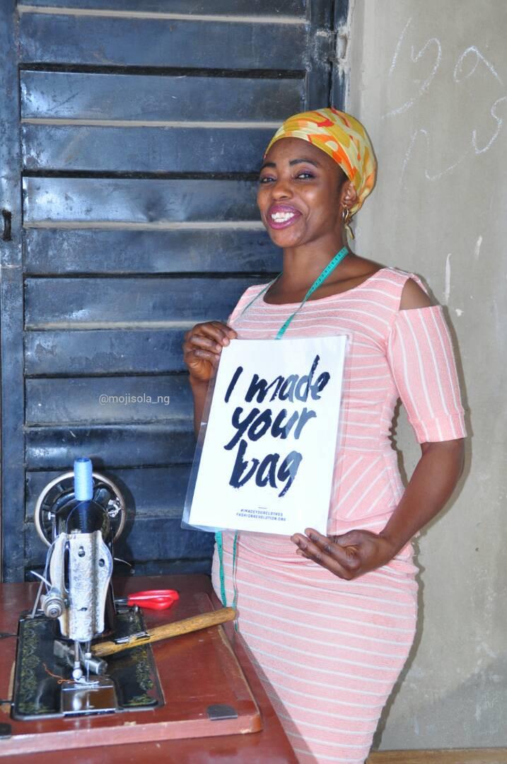 Omowumi, repurposes recycled denim & Aso Okes