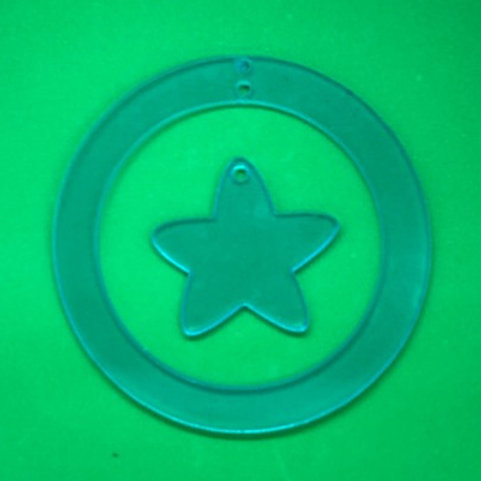 CIRCLE ORNAMENT WITH ROUNDED STAR DANGLE
