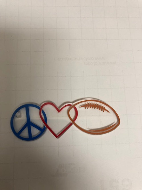 PEACE LOVE FOOTBALL KEYCHAIN BLANK