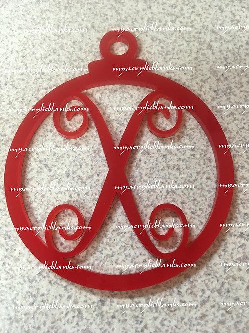 RED ACRYLIC CHRISTMAS ORNAMENT  X