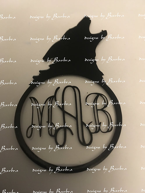 WOLF HOWLING MONOGRAMABLE